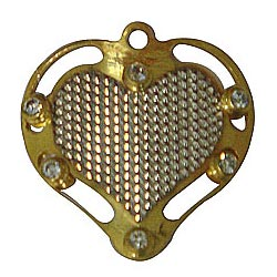 Stunning Gold Tone Metal Heart Shaped Pendant with Mesh