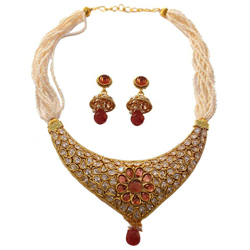 Gaudy Wedding Delight Earring N Necklace Set