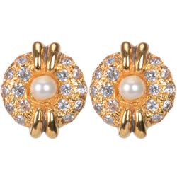 Dazzling Pearl Earrings Set Gold Plated with American Diamonds
