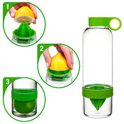 Smart Looking Citrus Zinger Juice Extractor and Water Infuser Bottle