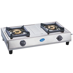 GLEN two burner stainless steel cooktop