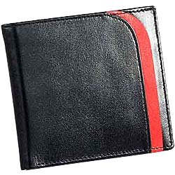 Red Patchworked Leather Talks Genuine Leather Mens Wallet in Black