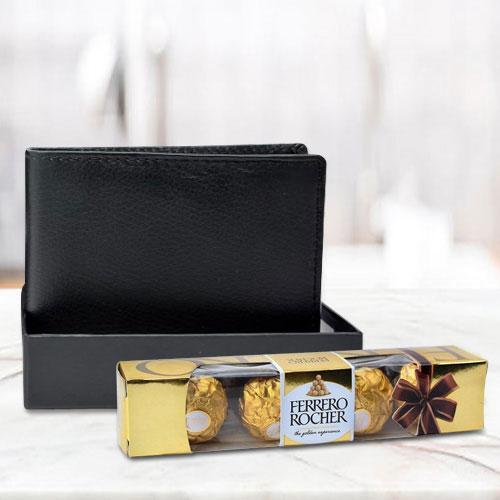 Astonishing Black Leather Wallet with Ferrero Rocher Chocolate