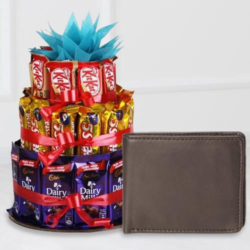 Stunning Leather Wallet for Boys with a 3 Tier Chocolate Arrangement