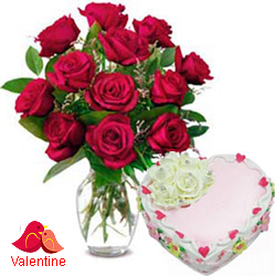 MidNight Delivery ::12 Exclusive  Dutch Red    Roses  in vase and  A Fresh Baked Heart Shaped Cake 1 Lb and  a Cadburys Chocolate.
