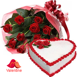 MidNight Delivery ::Exclusive  Dutch Red    Roses  Bouquet with Heart Shaped Cake
