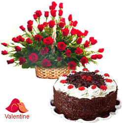 MidNight Delivery ::50 Exclusive  Dutch Red    Roses  with Black Forest cake 1 Kg from 5 star Hotel Bakery