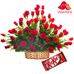 MidNight Delivery ::100 Exclusive  Dutch Red    Roses  Arrangement with Cadburys Chocolate