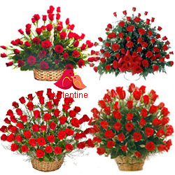 MidNight Delivery ::Biggest Love : 250 Pcs. Exclusive Dutch Red Roses in Multi Basket