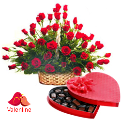 MidNight Delivery ::51 Exclusive  Dutch Red    Roses  Arrangement with Cadburys Chocolate