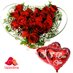 MidNight Delivery ::Dutch Red Roses in Heart Shape Arrangement with 2 Heart Shape Balloons