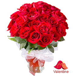 MidNight Delivery ::24 Exclusive Red Dutch Roses Bouquet