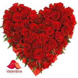 MidNight Delivery ::Exclusive  Dutch Red    Roses  in  Heart Shaped Arrangement