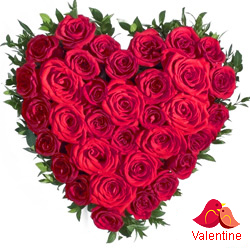 MidNight Delivery ::Red Roses in Heart Shape Arrangement.