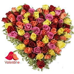 MidNight Delivery ::Multi Coloured Heart Shaped Arrangements