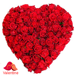 MidNight Delivery ::200 Red Roses in Heart Shape Arrangement