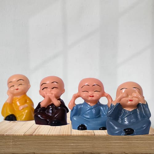Auspicious Set of 4 Laughing Buddha Polyresin Statue