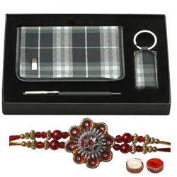 Beautiful Combo Gift Set of Diary, Pen and Key Ring with Rakhi, Roli Tilak N Chawal for the Occasion of Rakhi
