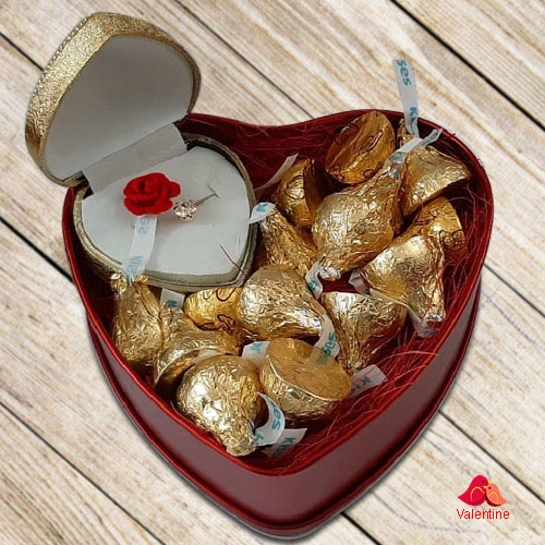 Yummy Hersheys Kisses Chocolates n Fancy Ring in a Heart Shape Box