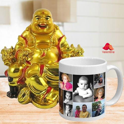 Superb Personalized Coffee Mug with a Laughing Buddha