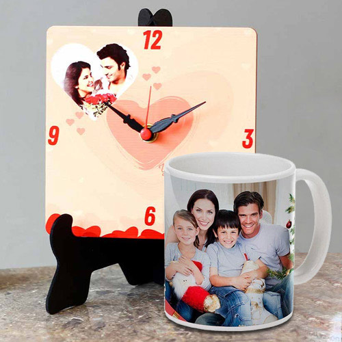 Eye Catching Personalized Photo Table Clock with a Personalized Coffee Mug