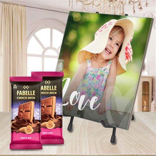 Astonishing Personalized Photo Tile with ITC Fabelle Twin Chocolates