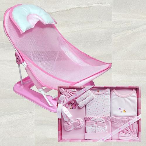 Wonderful Baby Bather n Cotton Clothes for Baby Girl