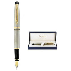 Elegant Waterman Expert Stainless Steel Gold Trim Fountain Pen with Wonderful Features