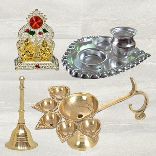 Exclusive Diya N Ghanti with Paan Shaped Thali N Ganesh Laxmi Mandap