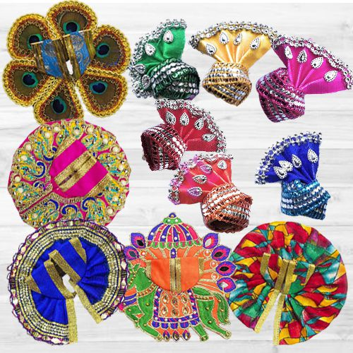 Marvelous Pack of 5 Laddu Gopal Dress with Jewellery Set N 6 Pcs Pagdi