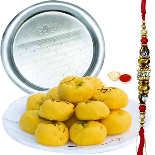 Remarkable Pooja Thali and Haldiram Kesar Pedas Gift Set with Free Rakhi Roli Tilak and Chawal for your Beloved Brother