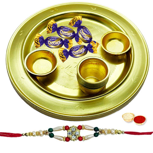 Enticing 4 Eclairs Chocolates and Silver Plated Thali with a Free Rakhi, Roli Tilak and Chawal for your Precious Brother on the Occasion of Rakhi