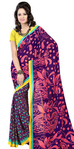 Dazzling Purple Coloured Faux Georgette Printed Saree