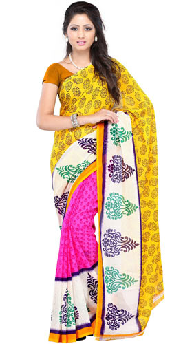 Lucid Brightness Faux Georgette Saree