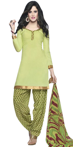 Remarkably Shaded in Light Green Cotton Printed Patiala Suit