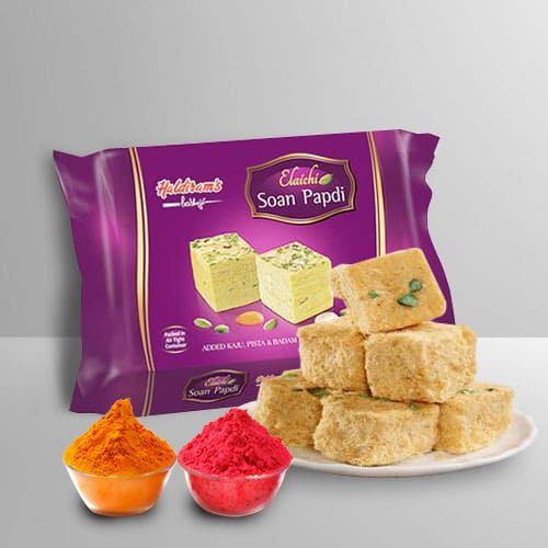 Nicely Gift Wrapped Soan Papdi  from Haldiram with free Gulal/Abir Pouch.