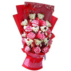 Wonderful Bouquet of Teddy N Roses