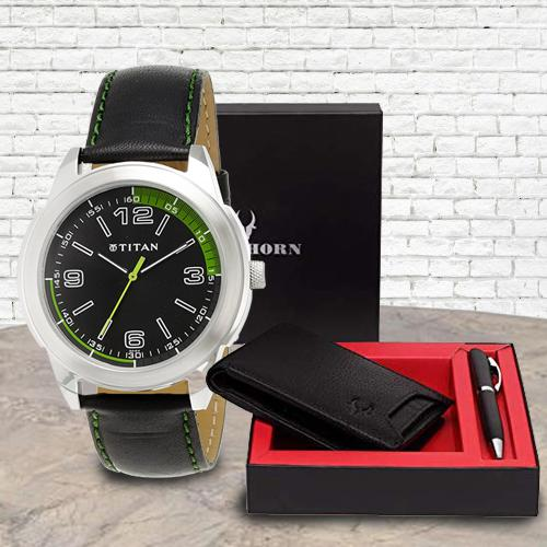 Stylish Titan Watch with Wildhorn Wallet n Pen Set