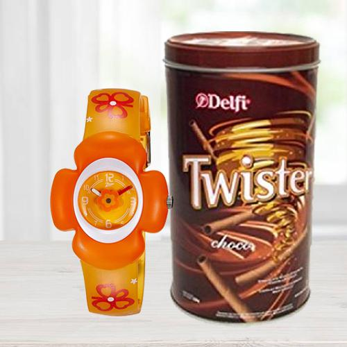 Amazing Zoop Analog Watch N Delfi Twister Chocolate Wafer