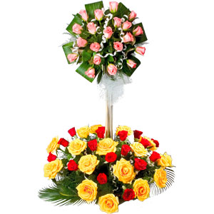 Chic 2 Tier Arrangement of 50 Mixed Roses Assortment